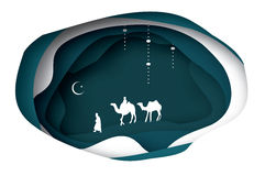 Ramadan Kareem greeting card. Crescent Moon. Origami Landscape, caravan,camel. Holy month. Night. Vector Stock Images