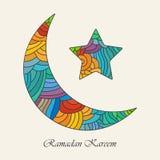 Ramadan Kareem greeting card. Crescent moon and star for holy month of muslim community Ramadan Kareem
