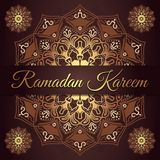 Ramadan kareem greeting card design with red maroon and golden mandala background. Vintage wallpaper background. Floral mandala stock illustration