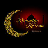 Ramadan Kareem greeting card. Golden ornate crescent with mosque on black and red background. Greeting card of holy Muslim month Ramadan