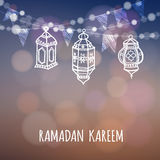 Ramadan Kareem greeting card. Illuminated arabic lanterns. Ramazan decoration. Vector illustration Royalty Free Stock Image