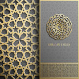 Ramadan Kareem greeting card,invitation islamic style.Arabic circle golden pattern.Gold ornament on black, brochure Royalty Free Stock Image