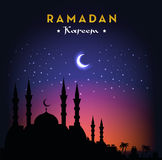 Ramadan Kareem greeting card with mosque and night sky. Moon and stars. Vector illustration. Stock Photos