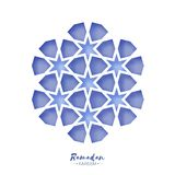 Ramadan Kareem Greeting card . Origami Arabesque Mosque Window. Arabic Ornamental pattern in paper cut style.Holy month stock illustration