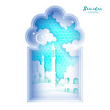 Ramadan Kareem Greeting card. Origami Mosque Window. Holy month. Paper cut Cloud. Royalty Free Stock Images