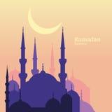 Ramadan Kareem greeting card with silhouette of purple mosque an Royalty Free Stock Photos