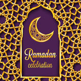 Ramadan Kareem greeting card with traditional islamic pattern, invitation or brochure in eastern style. Stock Photo