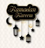 Ramadan Kareem Greeting Card with Traditional Lanterns. Islamic Template Royalty Free Stock Images