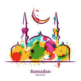 Ramadan Kareem greeting card with watercolor illustration of mosque and moon. vector illustration
