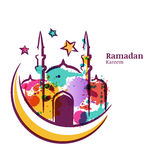 Ramadan Kareem greeting card with watercolor isolated illustration of multicolor mosque on moon.