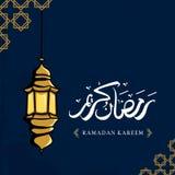 Ramadan kareem greeting design with lantern hand drawn and arabic calligraphy stock illustration