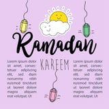 Ramadan Kareem Greeting Design Template Background Illustration Libre de Droits
