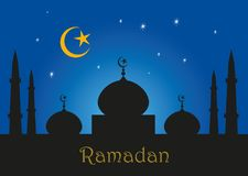 Ramadan kareem greeting illustration with minarets and mosques in silhouette against a night blue sky with stars –. Ramadan kareem greeting illustration stock illustration