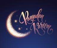 Ramadan Kareem greeting lettering card with moon and stars. Vector illustration Stock Image