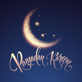 Ramadan Kareem greeting lettering card with moon and stars. Vector illustration Stock Images
