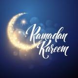 Ramadan Kareem greeting lettering card with moon and stars. Vector illustration Stock Photo