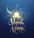 Ramadan Kareem greeting lettering card with moon and stars. Vector illustration Royalty Free Stock Photo