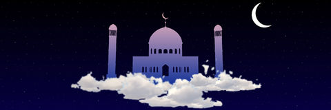 Ramadan Kareem greeting with mosque on heaven among stars Vector Royalty Free Stock Image