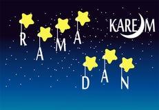 Ramadan kareem. A ramadan greeting night landscape with stars vector illustration