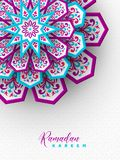 Ramadan Kareem greeting poster. 3d paper cut flowers decorated pattern in traditional islamic style. Design for greeting card, banner or poster. Vector stock illustration