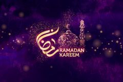 Ramadan Kareem Greetings with arabic calligraphy which means Ramadan Stock Photos