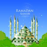 Ramadan Kareem Greetings for Ramadan background with Islamic Mosque vector illustration