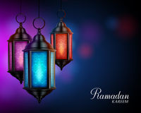 Ramadan Kareem Greetings with Colorful Set of Lanterns or Fanous Royalty Free Stock Photo