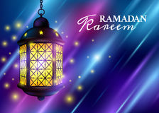 Ramadan Kareem Greetings with Colorful Set of Lanterns or Fanous in a Dark Glowing Background. 3D Realistic Vector Illustration.  Stock Photography