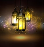 Ramadan Kareem Greetings. With Colorful Set of Lanterns or Fanous in a Dark Glowing Background. 3D Realistic Vector Illustration Stock Photo