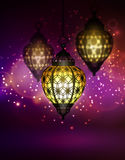 Ramadan Kareem Greetings. With Colorful Set of Lanterns or Fanous in a Dark Glowing Background. 3D Realistic Vector Illustration Royalty Free Stock Photography