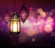 Ramadan Kareem Greetings. With Colorful Set of Lanterns or Fanous in a Dark Glowing Background. 3D Realistic Vector Illustration Royalty Free Stock Images