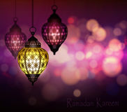 Ramadan Kareem Greetings. With Colorful Set of Lanterns or Fanous in a Dark Glowing Background. 3D Realistic Vector Illustration Royalty Free Stock Image