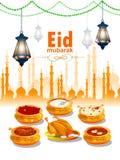 Ramadan Kareem Greetings för Ramadanbakgrund med den Iftar mat och drinken stock illustrationer