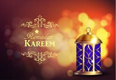 Ramadan Kareem Greetings. With Lantern or Fanous in a Dark Glowing bokeh Background. 3D Realistic Vector Illustration Royalty Free Stock Photography