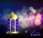 Ramadan Kareem Greetings. With Lantern or Fanous in a Dark Glowing bokeh Background. 3D Realistic Vector Illustration Stock Photos