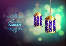 Ramadan Kareem Greetings. With Lanterns or Fanous in a Dark Glowing bokeh Background. 3D Realistic Vector Illustration Stock Image