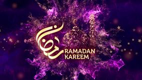 Ramadan Kareem Greetings med arabisk kalligrafi som betyder Ramadan lager videofilmer