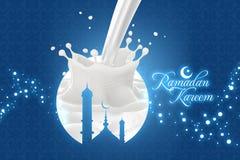 Ramadan Kareem Greetings med mjölkar färgstänk royaltyfri illustrationer