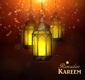 Ramadan Kareem Greetings. With Colorful Set of Lanterns or Fanous hanging in a Dark Glowing Background. 3D Realistic Vector Illustration Stock Photography
