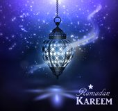 Ramadan Kareem Greetings. With lantern hanging with magic light in a Dark Glowing Background. 3D Realistic Vector Illustration Stock Photography