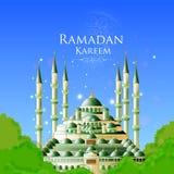 Ramadan Kareem Greetings voor Ramadanachtergrond met Islamitische Moskee vector illustratie