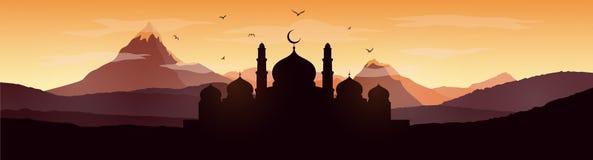 Ramadan Kareem-groetkaart met moskee royalty-vrije illustratie