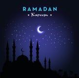Ramadan Kareem-groetkaart met moskee en nachthemel Maan en Sterren Vector illustratie royalty-vrije illustratie