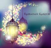 Ramadan Kareem-Gruß auf unscharfem Hintergrund mit schöner belichteter arabischer Lampe Vektorillustration Lizenzfreie Stockfotos