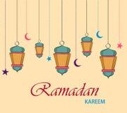 Ramadan Kareem-Grußkarte für Feiertag Hängende Laternen, Sterne und Monde vektor abbildung