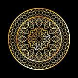Ramadan Kareem-Grußkarte, islamische Art der Einladung Goldenes Muster des arabischen Kreises Goldverzierung auf schwarzer, islam Stockfoto