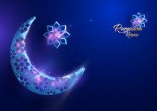 Ramadan Kareem-Grußkartendesign mit sichelförmigem Mond Lizenzfreies Stockfoto