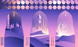 Ramadan Kareem-Gru?karten in der arabischen Kalligraphie reden ?bersetzung gro?z?giges Ramadhan an stock abbildung