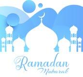 Ramadan Kareem hälsningkort Blåaktig vektor i den ramadan moskén - vektor royaltyfri illustrationer