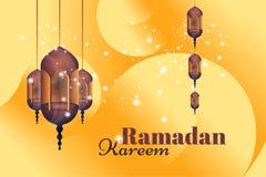 Ramadan Kareem hälsningkort Härliga glödande lampor på en bakgrund för illustrationsköld för 10 eps vektor royaltyfri illustrationer